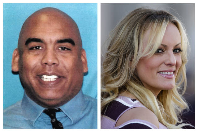 This combination of photos shows Columbus vice squad Officer Andrew Mitchell and adult film actress Stormy Daniels, whose real name is Stephanie Clifford. Ohio's capital city is disbanding its police vice unit in the wake of internal and FBI investigations and recent charges against Mitchell, alleging he forced two women to have sex with him under threat of an arrest. The unit came under scrutiny in 2018 when vice officers arrested Daniels at a Columbus strip club. (AP Photo/Markus Schreiber, Department of Justice via AP, File)