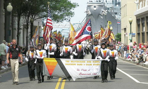 Submitted photos Beavercreek High School Marching Band and Color Quard were one of 100 parade units in the 64th Annual Parade of Nations -NATO Parade. The SS Wisconsin battleship in the Norfolk Harbor was the backdrop of this 1 1/2 mile event.