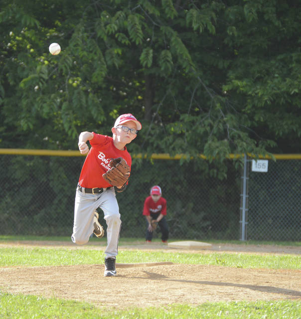A Bob Evans-sponsored pitcher lets fly with his delivery, during a Xenia YRC Minor League (9-10 year olds) tournament between teams from Bellbrook and Xenia, June 21 at Evans Acres in Xenia.