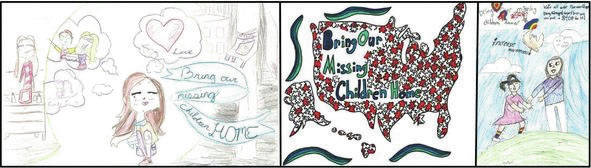 These are the winners of the National Missing Children's Day Poster Contest: From left- First Place: Mya Wehrkamp, Coldwater Middle School, Coldwater; Second Place: Sophia Rush, St. Nicholas Academy, Cincinnati and Third Place: Ibraheem Ahmad, Dayton Islamic School, Beavercreek.