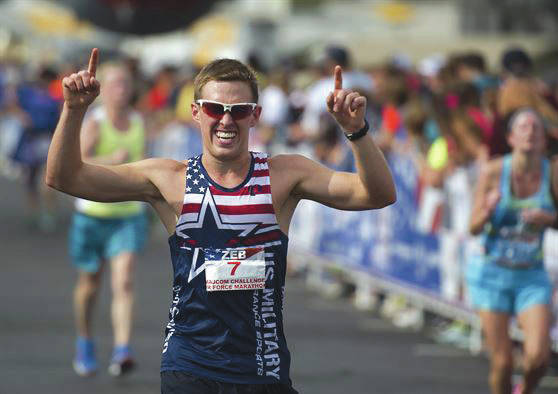 Submitted photo First Lt. Zebulon Hanley of San Antonio crosses the finish line last year to become the winner of the 20th U.S. Air Force Marathon men's full marathon division held Sept. 17, 2016 at Wright-Patterson Air Force Base with a time of 2:47:04. The 2017 event is scheduled Sept. 15-16 and registration is still open.
