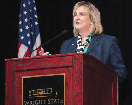 Submitted photos In her first State of the University Address, Wright State President Cheryl B. Schrader said that by working together the university community can overcome any challenge.