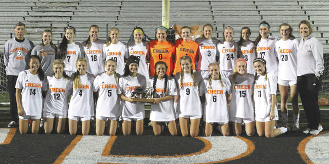 Randy Wimer | News-Current The Beavercreek High girls varsity soccer team, shown here after winning the 2017 Greater Western Ohio Conference, National East divisional trophy, enters postseason play as the No. 2 seed in Division I.