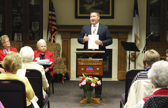 Anna Bolton | Greene County News Beavercreek City Schools Superintendent Paul Otten speaks to voters about Issue 17 at Beavercreek Republican Women's Club's Candidates and Issues Forum Oct. 23.