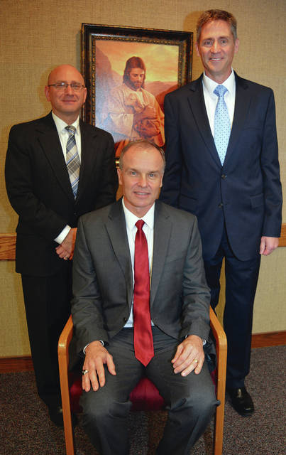 Submitted photo Jeremy Lutz of Huber Heights (second counselor), Robert Hancock of Beavercreek (president) and Mark Skouson of Beavercreek (first counselor) were recently named new leaders for Dayton Ohio East Stake of the Church of Jesus Christ of Latter-day Saints.