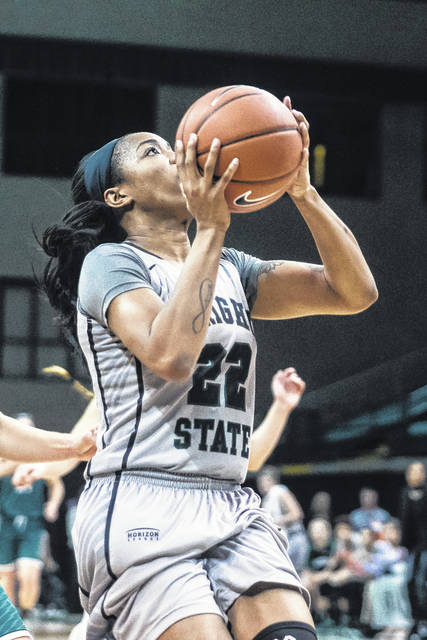 Don Tate   News-Current Wright State's Chelsea Welch goes up for two of her game-high 22 points Thursday.