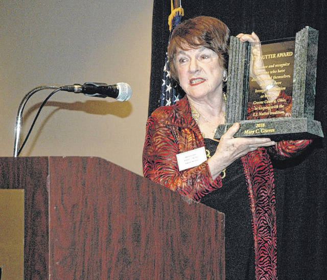 Scott Halasz | Greene County News Long-time Bellbrook resident Mary Graves received the prestigious E.J. Nutter Award during Greene County's report to the community April 20.