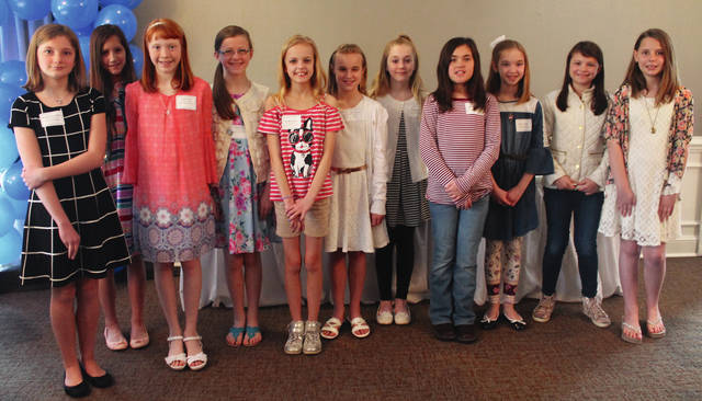 Elizabeth Van Auken, Bella Spencer, Kaylee Ervin, Caroline Hamilton, Brooklyn Cordray, Esther Augustine, Katelyn Welsh, Makayli Marinelli, Madison Ruble, Claire Wonders and Diana Smith accepted their awards April 25. Faith Steward and Ellie Schulte are not pictured.