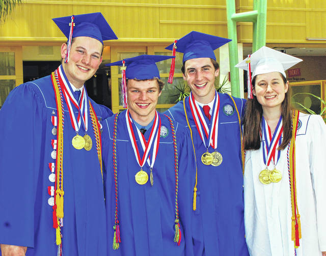 Submitted photo The Carroll High School Class of 2018 Valedictorians and Salutatorians include: Quinn Retzloff, Peter Menart, Andy Barbaro, Maria Schlegel.
