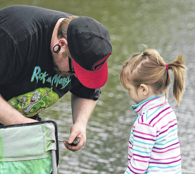 Barb Slone | Greene County News Beavercreek Parks, Recreation & Cultural Department hosted a fishing derby May 19 at Phillips Park, 2132 Dayton-Xenia Road. Children caught fish and prizes were awarded. Mr. C presented science demonstrations.
