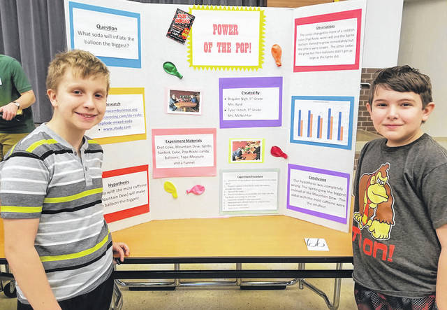Submitted photos Trebein Elementary students Brayden and Tylor with their science project.