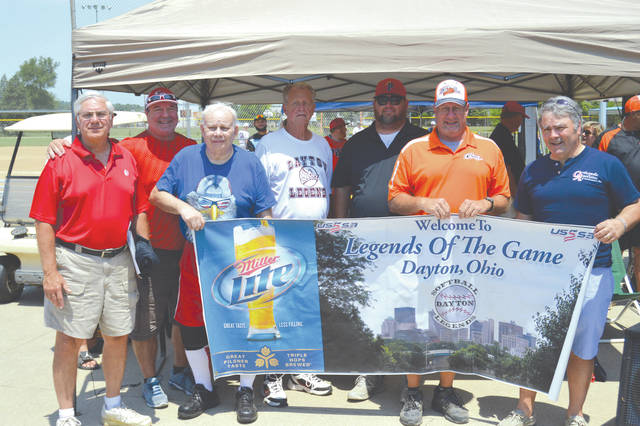 Members of the 13th Greater Dayton Legends of the Game are, from left to right: George Flake of Beavercreek; Curt Roach of DeGraff; Tracy Hall of Medway; Bob Kender of Dayton; Donnie Brewer of Dayton; Mike George of Bellbrook; and recognized sponsor Dr. John Urse, Orthopedic Associates.