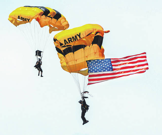 Don Tate | Greene County News The US Army Golden Knights dropped into the 2018 Vectren Dayton Air Show June 23-24. This was one of the many featured events at the Air Show.