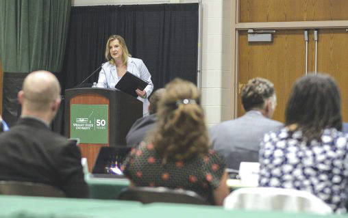 Submitted photo During the presentation of the university's fiscal 2019 budget, President Cheryl B. Schrader reported that Wright State is on track to avoid fiscal watch.