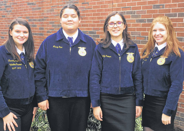 Submitted photo Greene County Career Center's Veterinary Science team recently placed fourth at the Big E FFA Career Development Event in Springfield, Mass. Current seniors Emily Palmer and Missy Rice were joined by 2018 graduates Cassidy Adams and Hailey Bowman and put their experiences to work against teams from across the nation. Dr. Kelly Rickabaugh serves as the Veterinary Science teacher at the career center's Agricultural Research Center.