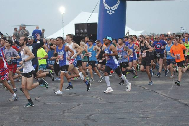 Barb Slone   Greene County News Approximately 12,000 individuals participated Sept. 15 in the Air Force Marathon. Wheeled participants took off first, followed by runners.