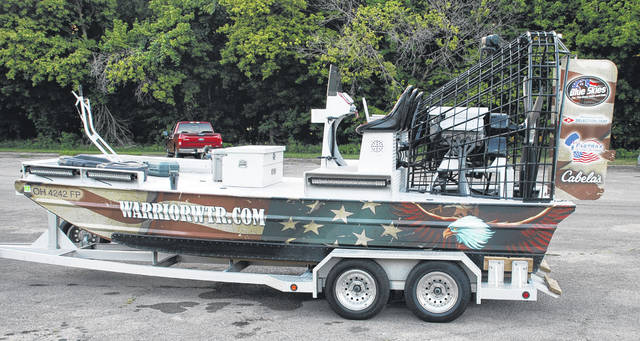 Larry S. Moore | Greene County News The custom airboat used for the bow fishing event.