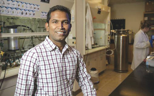 Submitted photo Kuppuswamy Arumugam, an assistant professor of chemistry at Wright State, leads a research project aimed at developing more effective cancer therapeutics.