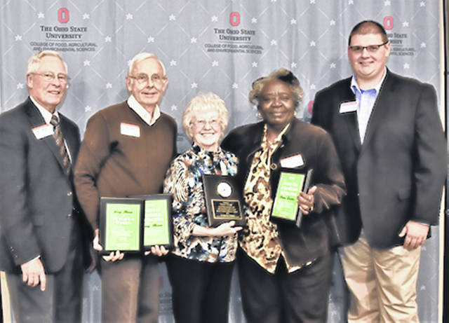 Submitted photo The 15-year anniversary award was presented by Garry Abfalter, Greene County Master Gardener Volunteer President, Jerry Haun to Thais Reiff, Pamela Carter along with Trevor Corboy, OSU Extension Greene County Agriculture and Natural Resources Educator.