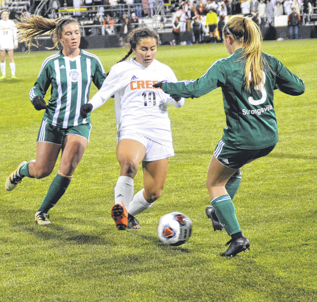 John Bombatch | Greene County news Beavercreek's Diana Benigno (10), shown in the Division-I state championship game, and Marcella Cash (23), shown against Fairborn, were named Elite Allstate All-Americans and have a chance to play in the All-American Cup in 2019.