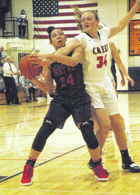 Jaida Wolfork is defended by Beavercreek's Anna Landing.