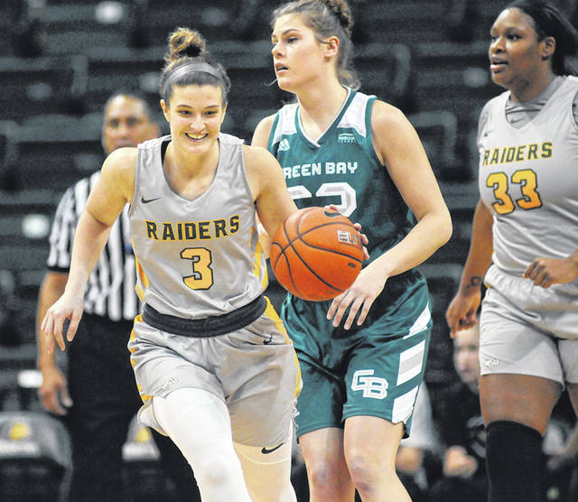 Photo courtesy of WSU Athletics Balanced scoring leads Wright State to fifth conference victory. Emily Vogelpohl takes the ball down the court.