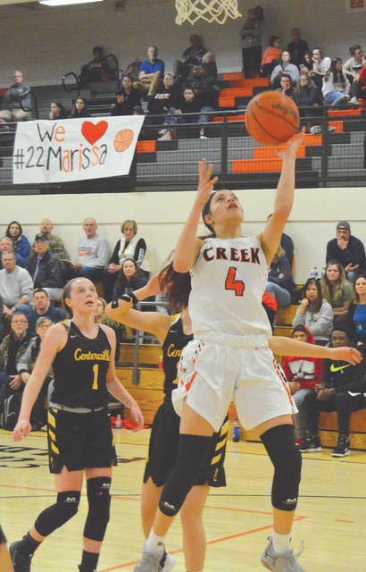 Sophomore Alyssa Hargrove-Hall (4) led Beavercreek with 13 points scored in the Feb. 6 loss to visiting Centerville.