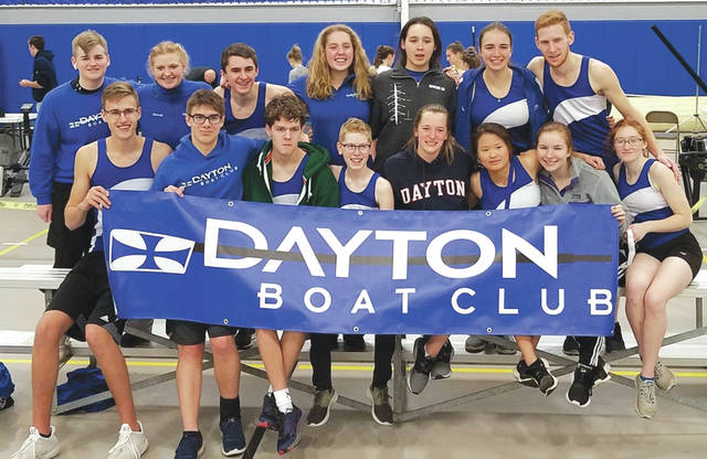 Submitted photo Several members of the Dayton Boat Club junior rowing team turned in personal-best times and finished well at the Cincinnati Indoor Rowing Championships, Feb. 10 at Summit Country Day High School.