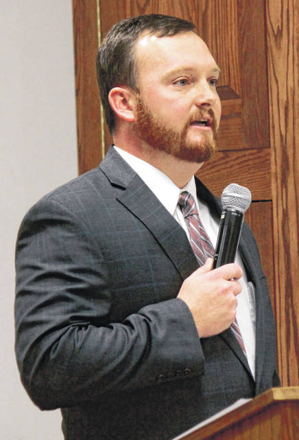 Anna Bolton | Greene County News Kraig Hagler of Xenia speaks to the Greene County Republican Central Committee Jan. 24 before his appointment to county treasurer.