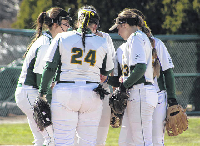 Photo courtesy of WSU Wright State Raiders huddle during their doubleheader Feb. 24.