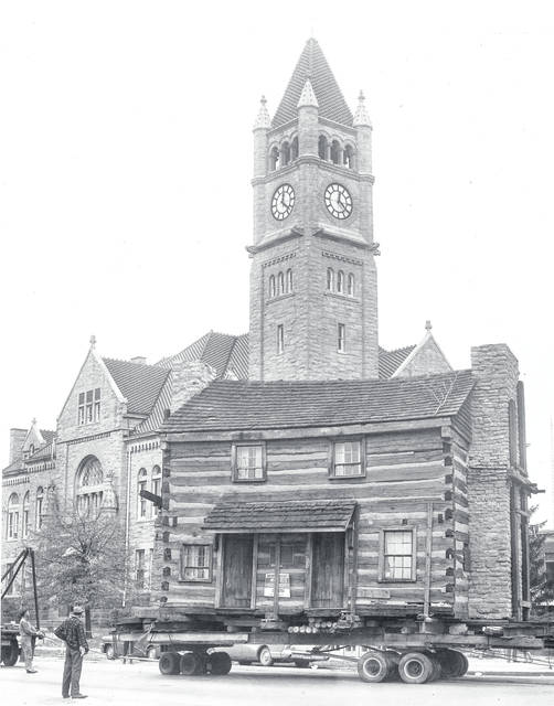 On Oct. 20, 1965, the Galloway log house was moved from the corner of South Monroe and East Second to West Church Street.
