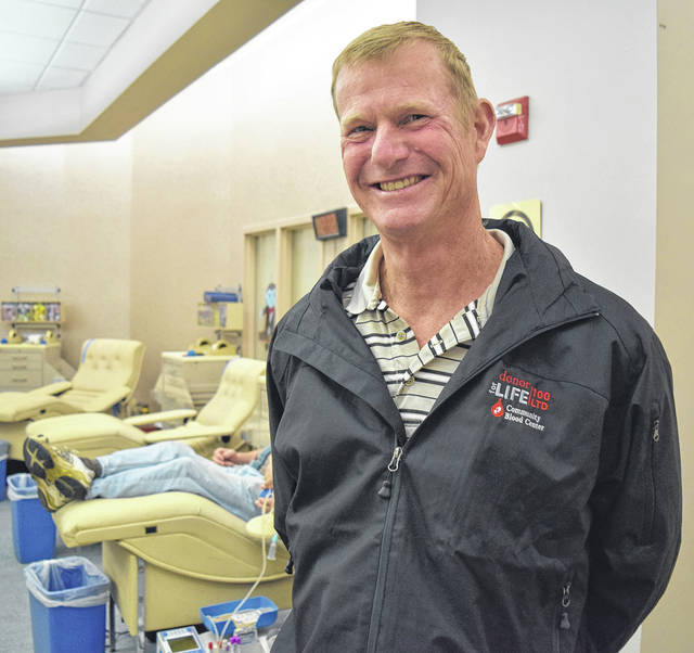 Beavercreek blood donor Dan Voss recently made his 100th donation at Community Blood Center.
