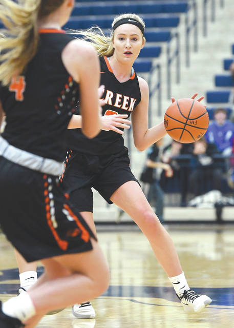 Beavercreek's Maci Rhoades (3) makes a bounce pass to teammate Ashley Vaughn, Jan. 18 at the Flyin' To The Hoop basketball showcase in Kettering.