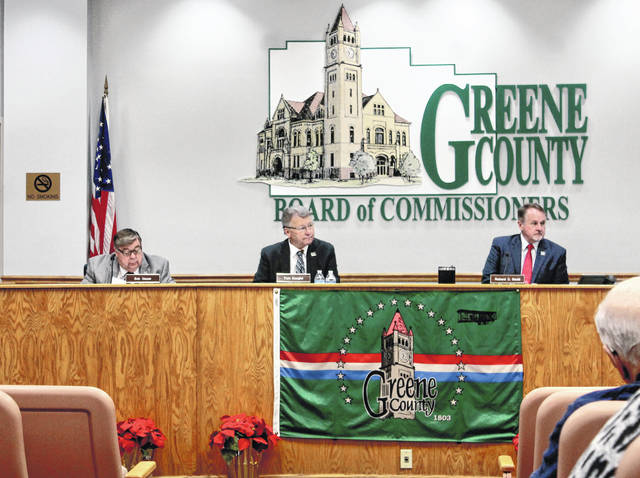 Anna Bolton | Greene County News Greene County Commissioners Bob Glaser, Tom Koogler and Dick Gould listen during the reorganizational meeting Jan. 9.