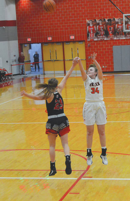 Beavercreek junior center Anna Landing (34) puts up a jump shot in Thursday's Division I tournament game with New Carlisle Tecumseh, in Troy.