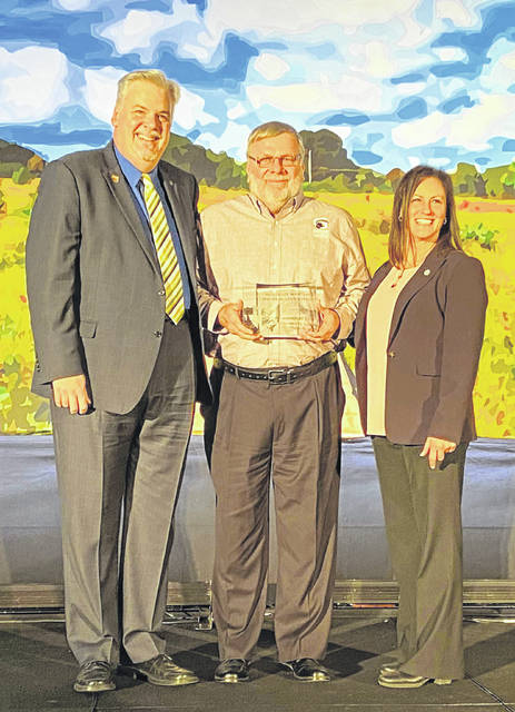 Photos courtesy GCP&T Greene County Parks & Trails Director Jon Dobney receives the 2019 Harvey Woods Lifetime Achievement Award during the Ohio Parks and Recreation Association ceremony Feb. 4 in Sandusky.