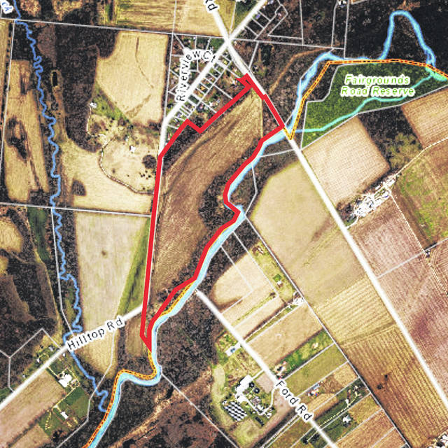Map courtesy GCSED Greene County Sanitary Engineering Department recently secured a 56 acre parcel in Beavercreek Township.