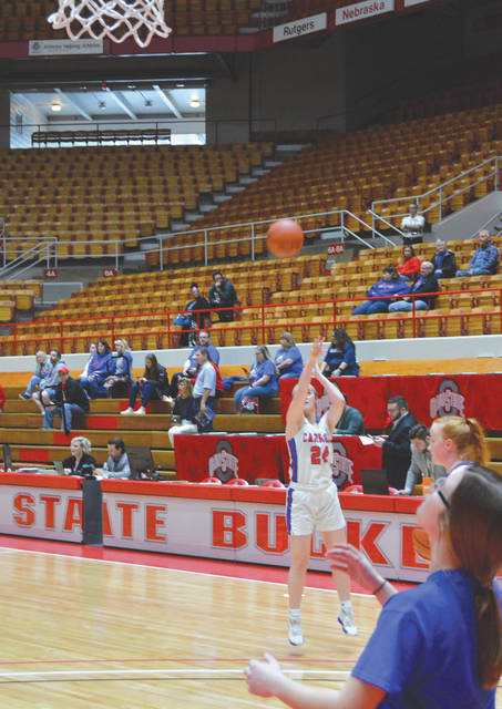 In front of a sparse crowd, Carroll senior guard Allie Stefanek shoots during pre-game warmups, March 12 at St. John Arena.