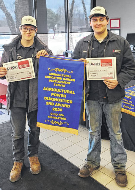 Photo courtesy GCCC Greene County Career Center seniors Joe Osborne of Beavercreek and Jason Mahaffey of Cedarville placed third March 6 in the Ohio FFA Career Development Event in the Ag Power Diagnostics competition. They each qualified for $5,000 scholarships to the University of Northwestern Ohio.