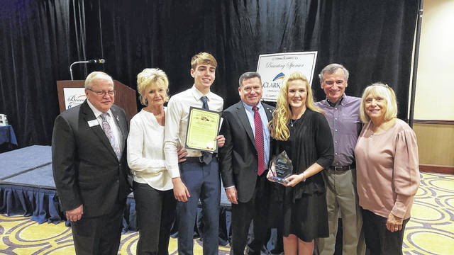 The family of Jeff McGrath accepted the E.G. Shaw Lifetime Achievement Award posthumously during the Beavercreek Chamber of Commerce Annual Meeting on March 11.