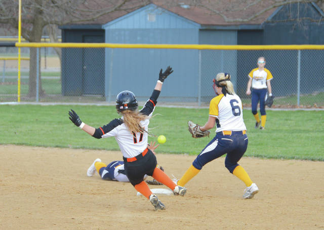 Beavercreek's Maddie Neibert (17) beats Springfield's throw to second in a high school softball game at Rotary Park last season.