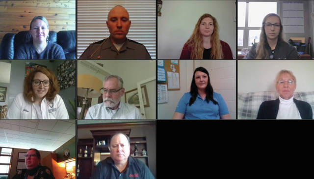 Screenshot of virtual press conference At center left, Jillian Drew, Greene County Safe Communities coordinator, leads a Steering Toward Safety discussion May 21 for various safety coalitions and partners in the region.