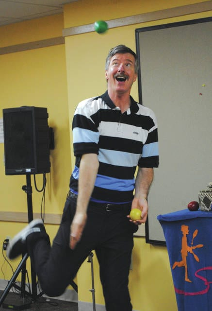 Whitney Vickers   Greene County News Tom Sparough, otherwise known as The Space Painter, made two presentations at the Fairborn Community Library June 13 in which he practiced various juggling techniques.
