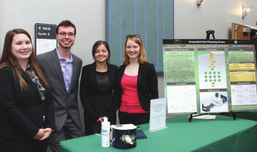 Submitted photo From left: Biomedical engineering students Mikayla Padgitt, Michael Collier, Skylar Rountree and Mary Farrow won the College of Engineering and Computer Science Senior Design Showcase for their automatic toothbrush.