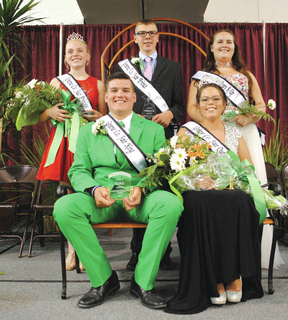 Whitney Vickers | Greene County News Greene County Fair 2017 royalty includes (top row, left to right): Madison Travis, princess; Caden Kline, prince; Ashley Howard, queen runner-up; and (bottom row) Bradley Eakle, king; and Allison Rapp, queen.