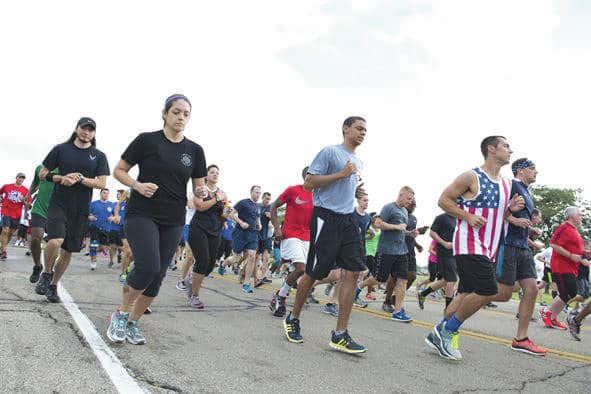 Submitted photo Team Wright-Patt employees run during the previous Run for the Fallen event at Wright-Patterson Air Force Base on Sept. 9, 2016. The Run for the Fallen provides an opportunity to remember and honor those who lost their lives and recognize those who continue to defend the nation.