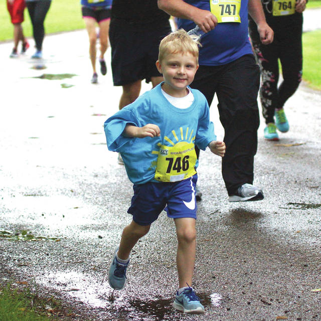 Barb Slone | Greene County News The City of Fairborn hosted its annual 5K race July 22, with a short delay of the start time due to the weather. Proceeds from the event benefited the Fairborn Parks and Recreation Department.