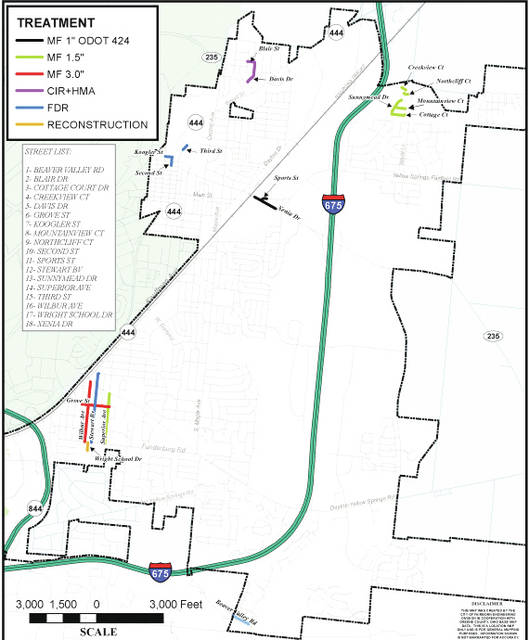 Submitted graphic A map of the upcoming road construction projects that are included in the 2017 street program.