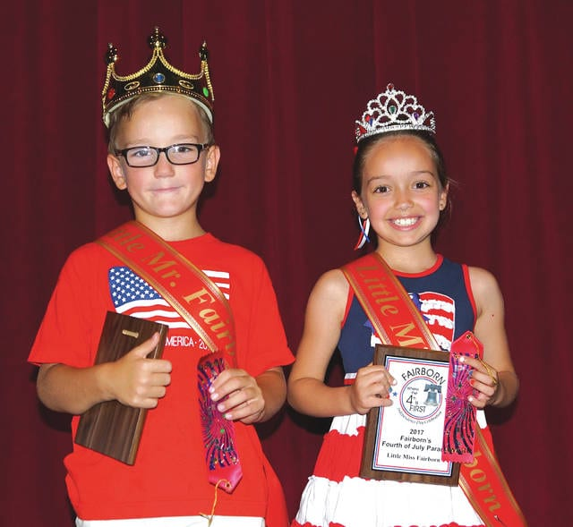 Barb Slone | Fairborn Herald Lila Malcolm and Matthew Haines were crowned the 2017 Fairborn Lil Miss and Mr. for the Fourth of July.
