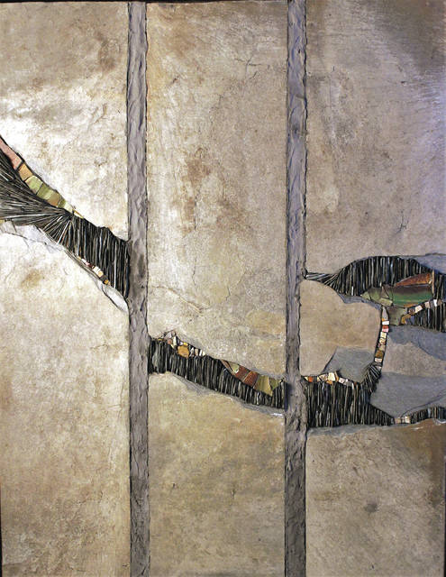 "Submitted art Unbroken, Uncovered, Undone, Mixed Media Mosaic - slate, broken tile, cut stone, and smalti attached with dark gray thinset on wedi board, 24"" x 18"" by Peggy Schuning."